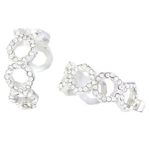 Picture of Silver Octagonal Earrings with Crystals